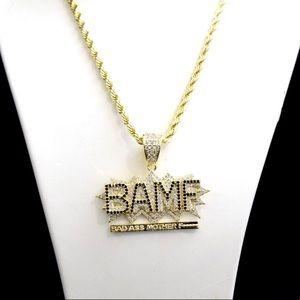 Other - 14k Gold Finish Lab Diamond BAMF Charm Chain